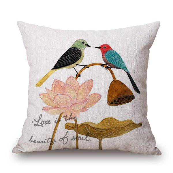 Stylish Love Proverb Pair Magpies Dating Lotus Design Pillow Case - COLORFUL