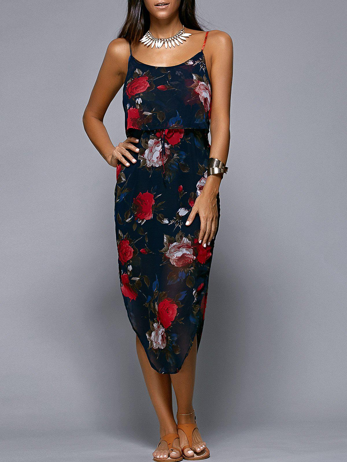 Spaghetti Strap Floral Print Asymmetric Midi Dress - PURPLISH BLUE L