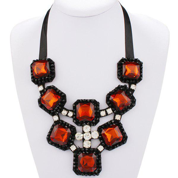 Exaggerated Rhinestone Hollow Out Square Shape Women's Statement Necklace