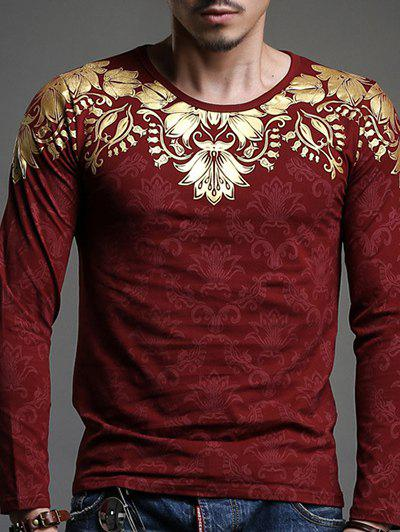 Stylish Gold Stamping Geometric Print Slim Fit Long Sleeves Tee For Men - DEEP RED L