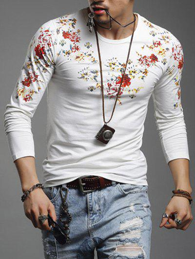 Floral Print Long Sleeve Round Neck Mens T-ShirtMen<br><br><br>Size: 3XL<br>Color: WHITE