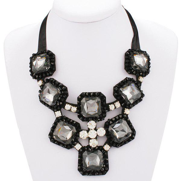 Exaggerated Square Shape Rhinestone Ribbon Statement Necklace For Women