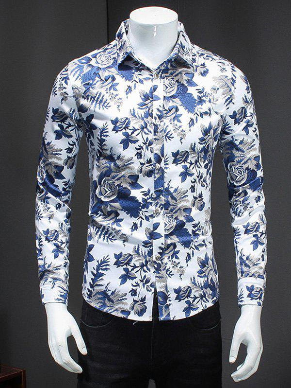 Buy Turn-Down Collar Plus Size 3D Flower Print Long Sleeve Men's Shirt COLORMIX