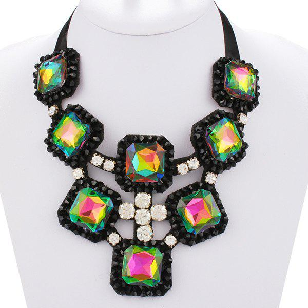 Exaggerated Square Shape Rhinestone Ribbon Alloy Women's Necklace - COLORFUL