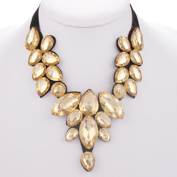 Faux Crystal Teardrop Statement Necklace