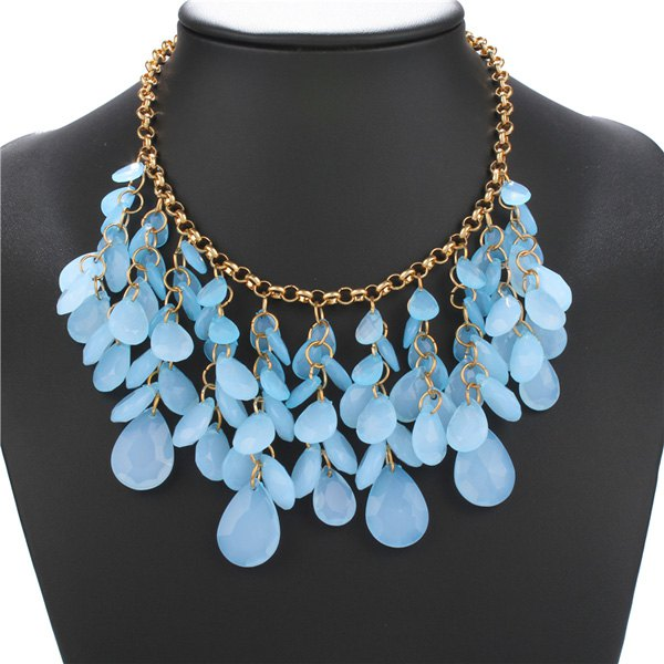 Hollow Out Geometric Stone Statement Necklace - ICE BLUE