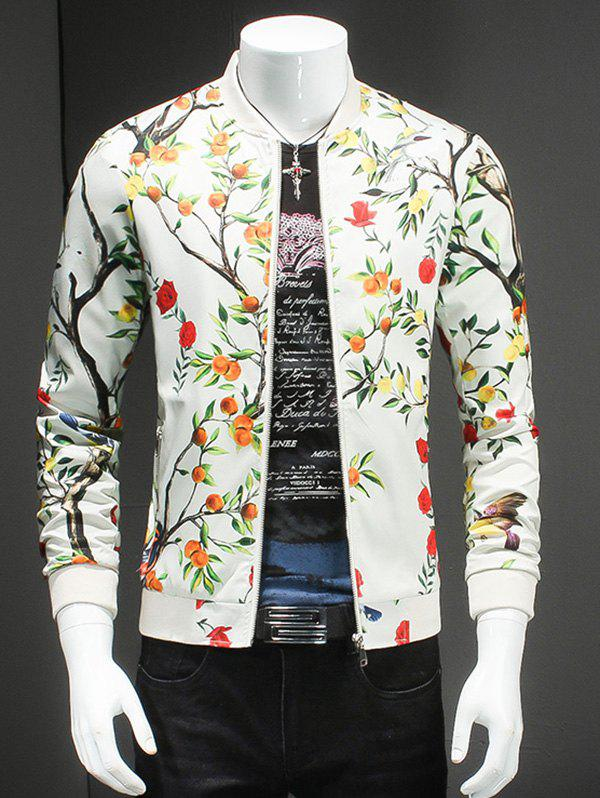 Stand Collar Plus Size 3D Floral and Bird Print Long Sleeve Men's Jacket - OFF WHITE 5XL