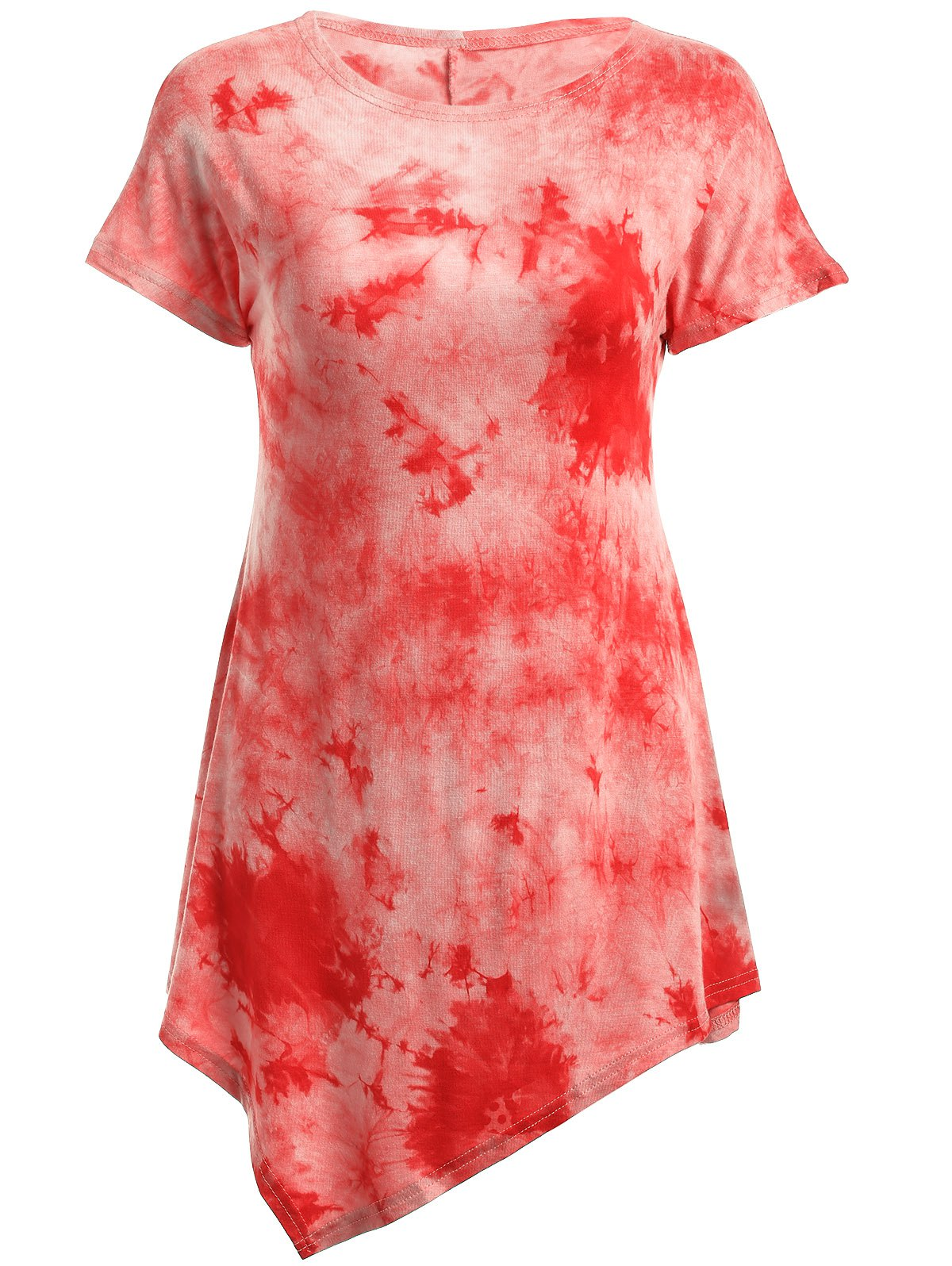 Tie-Dyed Short Sleeve Asymmetric T-Shirt - RED XL