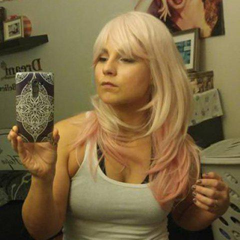 Buy Fashionable Super Sonico Natural Straight Fashion Inclined Bang Pink Ombre Charming Long Cosplay Wig