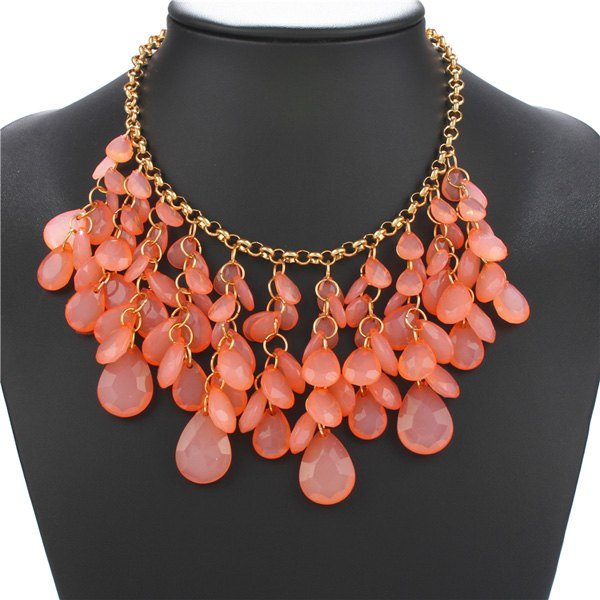 Teardrop Hollow Out Natural Stone Statement Necklace - ORANGEPINK