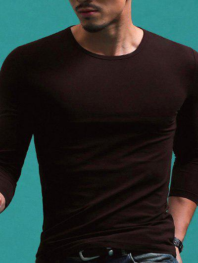Round Neck Long Sleeve Solid Color T-Shirt For Men - COFFEE M