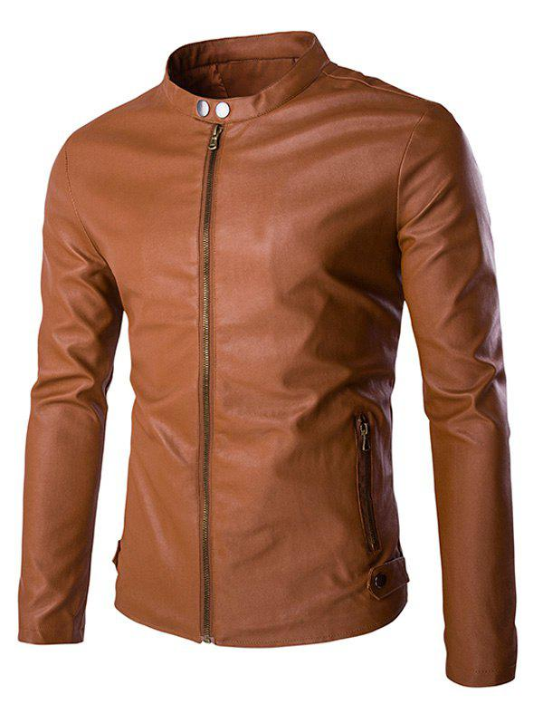 Multi-Zipper Stand Collar Long Sleeves Men's PU Leather Jacket - BROWN 2XL