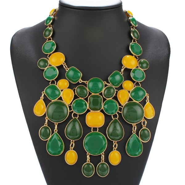 Geometric Faux Stone Statement Necklace - EMERALD