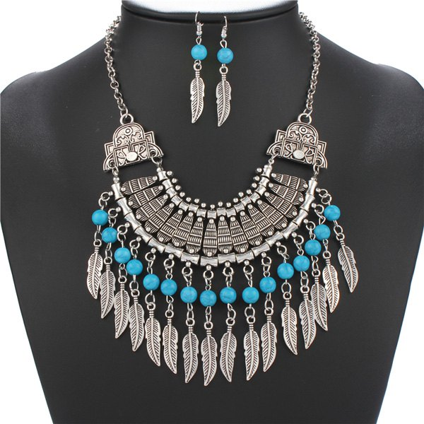 A Suit of Retro Geometric Faux Turquoise Feather Tassel Necklace and Earrings For Women - SILVER
