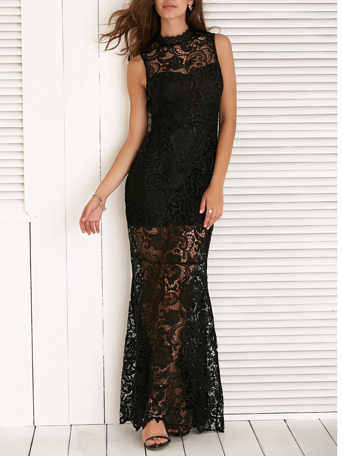 Sleeveless See-Through Lace Splicing Maxi Dress - BLACK XL