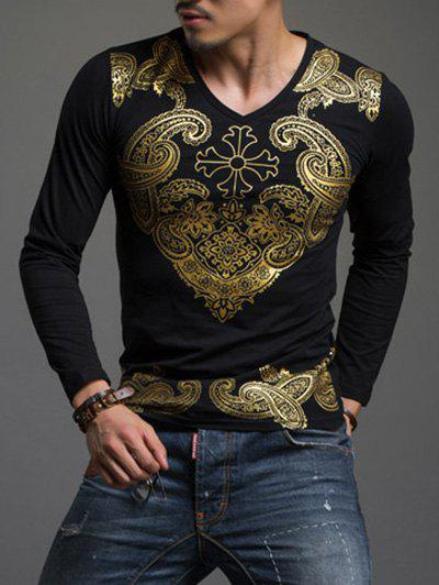 Paisley Hot Stamping Printing Round Neck Men's Long Sleeve T-Shirt - BLACK 4XL