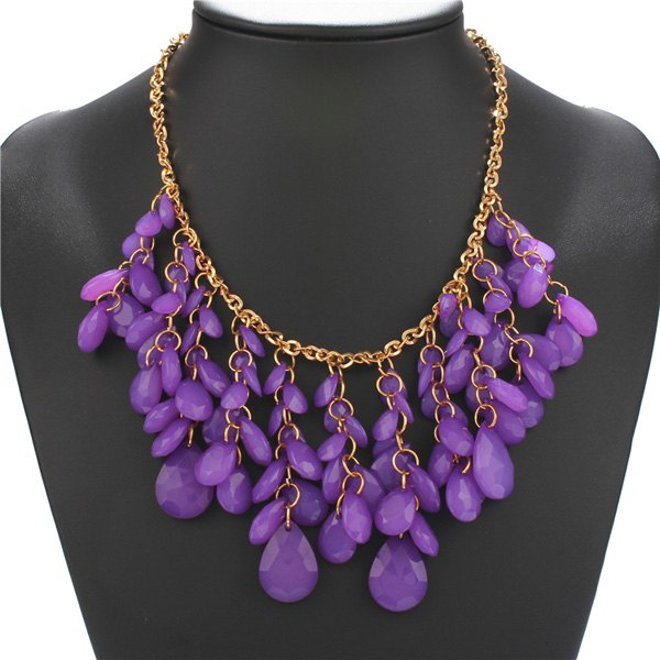 Gold Plated Hollow Out Teardrop Resin Statement Necklace - AMETHYST