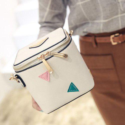 Stylish Zippers and Triangles Design Women's Cosmetic Bag - WHITE