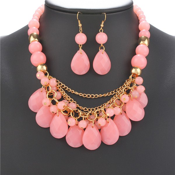A Suit of Teardrop Resin Necklace and Earrings - LIGHT PINK