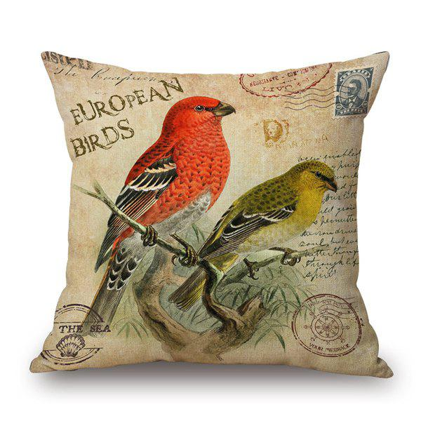 Vintage Postmark European Birds Character Letter Pattern Pillow Case - ANTIQUE BROWN