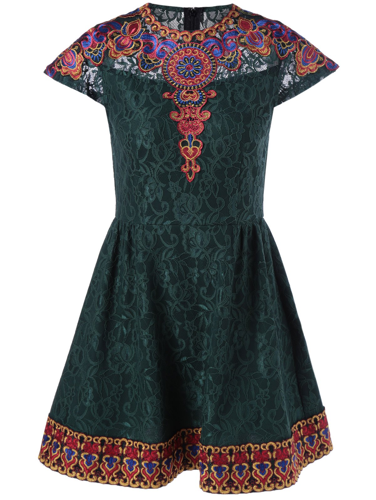 Ethnic Style Embroidered Lace Mini Dress - BLACKISH GREEN M