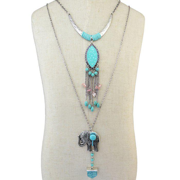 Faux Turquoise Elephant Fringed Layered Necklace - SILVER