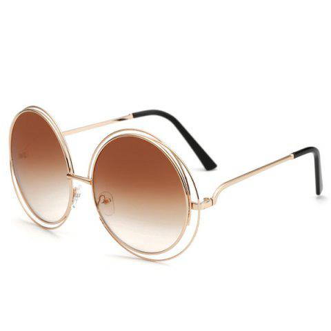 Chic Women's Hollow Out Round Sunglasses - TEA COLORED