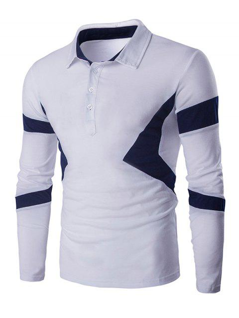 Color Spliced Turn Down Collar Long Sleeve Men's T-shirt - WHITE 2XL