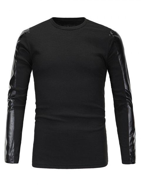 Ribbed Faux Leather Spliced Men's Long Sleeve T-Shirt - BLACK M
