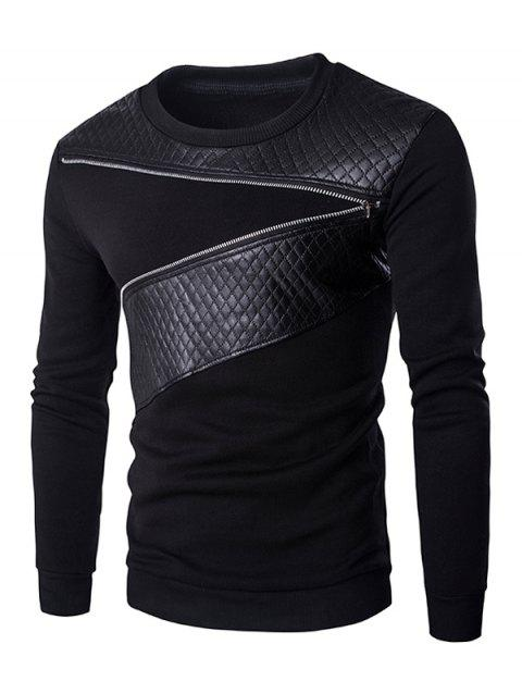 Quilting Faux Leather Splicing Zippered Men's Pullover Sweatshirt - BLACK XL