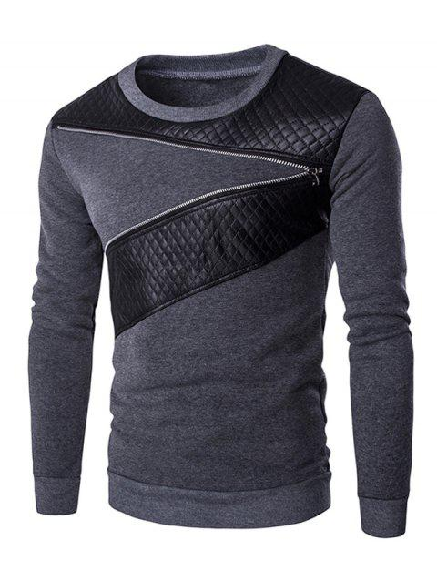 Quilting Faux Leather Splicing Zippered Men's Pullover Sweatshirt - GRAY M