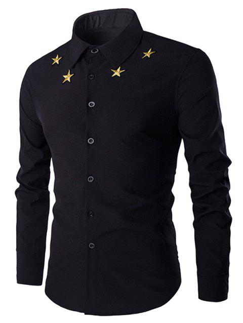 Simple Star Embroidered Men's Long Sleeves Shirt - BLACK XL