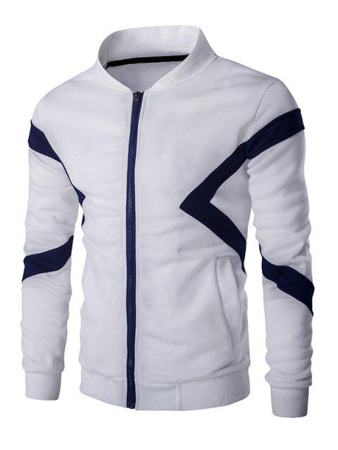 Color Splicing Napping Zip Up Men's Long Sleeve Jacket - WHITE L