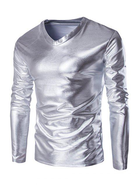 Fahionable V-Neck Long Sleeves Shiny T-Shirt For Men - SILVER M