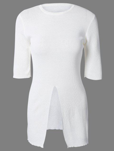 Candy Color Short Sleeve Front Furcal Sweater - WHITE ONE SIZE