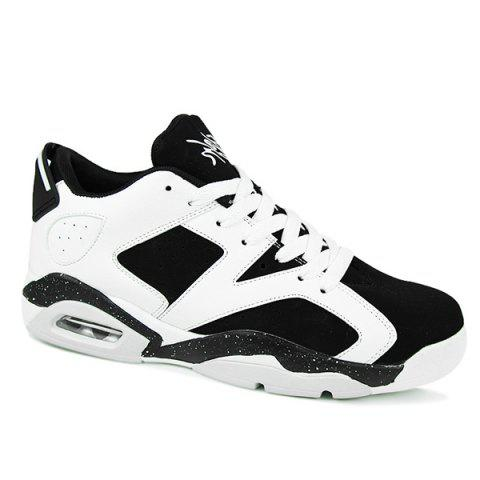 Stylish Breathable and Tie Up Design Men's Athletic Shoes - WHITE/BLACK 43