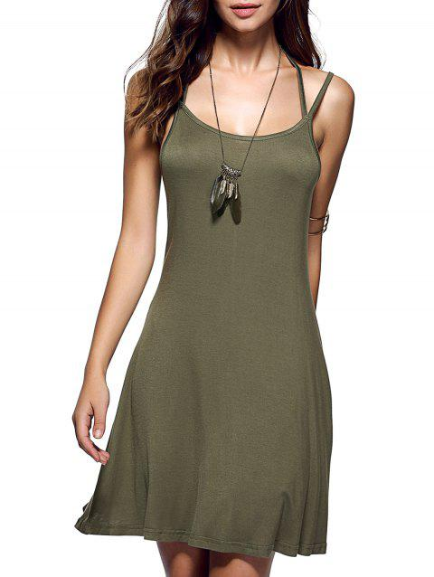 Spaghetti Strap Backless Casual Short Summer Dress - ARMY GREEN L