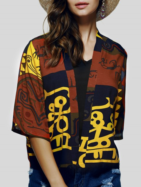 Collarless Floral Ethnic Print Short Cape Kimono - COLORMIX L