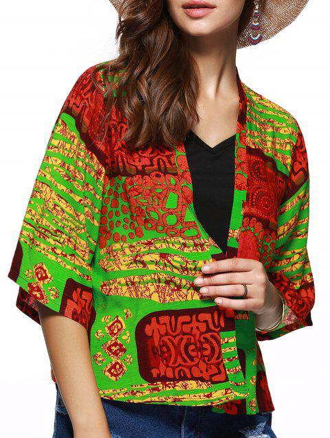 Collarless Floral Hit Imprimer Couleur court Kimono - multicolore L