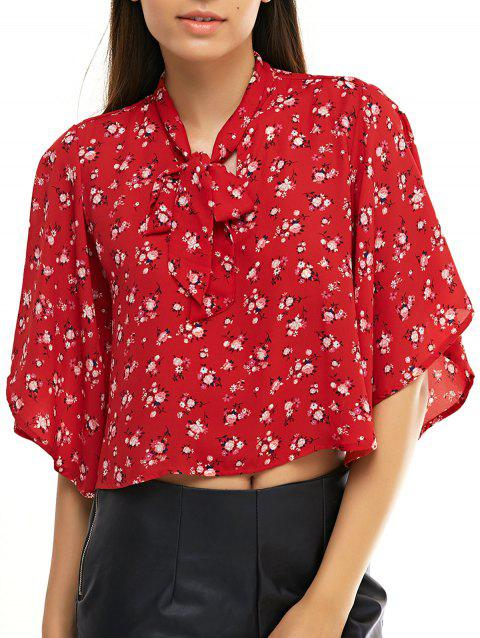 Chic Women's Floral Print Bow Tie Collar Chiffon Blouse - RED ONE SIZE