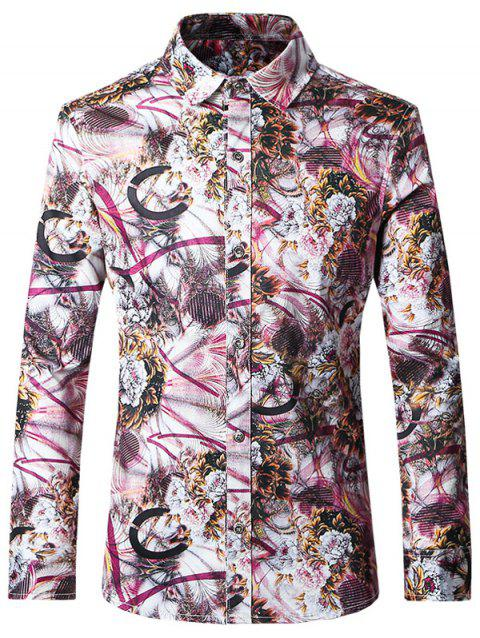 Plus Size Chic Printed Turn-Down Collar Long Sleeves Shirt For Men - COLORMIX 3XL