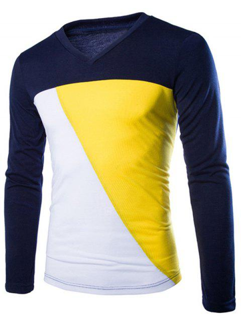 Color Splicing V-Neck Men's Long Sleeve T-Shirt - CADETBLUE 2XL