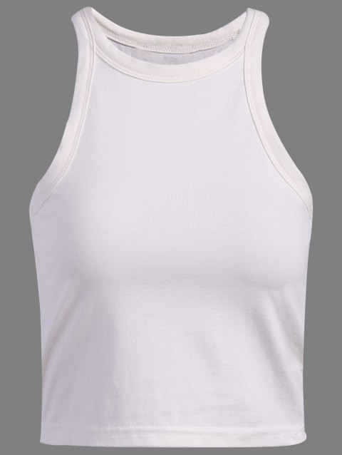 Brief Jewel Neck Solid Color Women's Knitting Tank Top - WHITE S