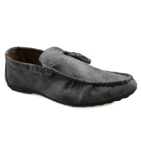 Stylish Stitching and Tassels Design Men's Casual Shoes - GRAY 44