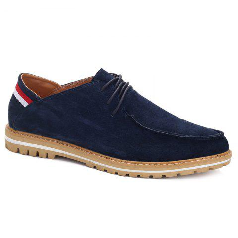 Fashionable Striped and Tie Up Design Men's Casual Shoes - DEEP BLUE 42