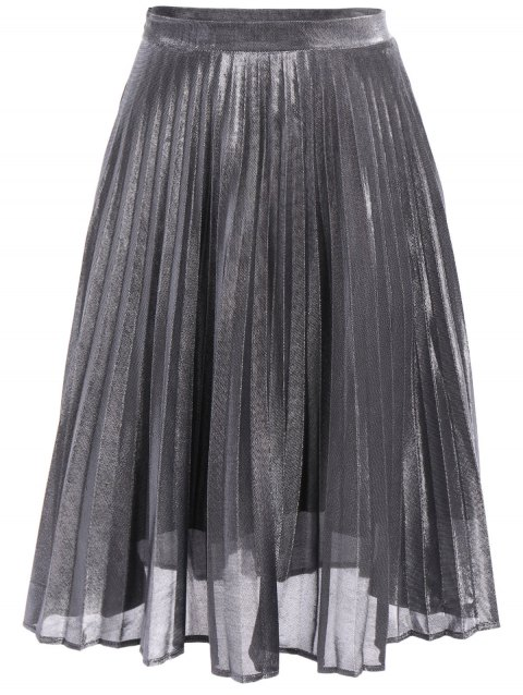 Fashionable Solid Color Pleated Midi Skirt For Women - GRAY L
