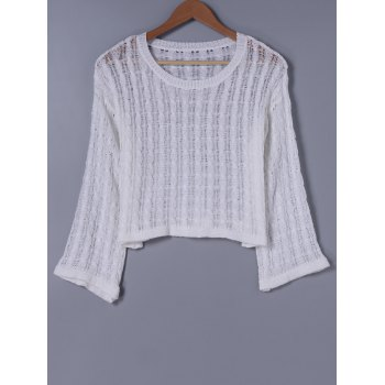 Stylish Women's Round Neck Long Sleeves Hollow Out Knitwear