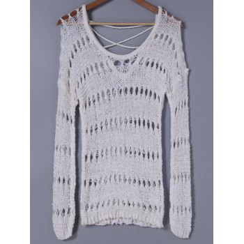 Stylish Women's Scoop Neck Long Sleeves Hollow Out Knitwear