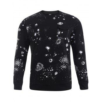 Buy BoyNewYork Fake Pocket Star Pattern Long Sleeves Sweatshirt BLACK