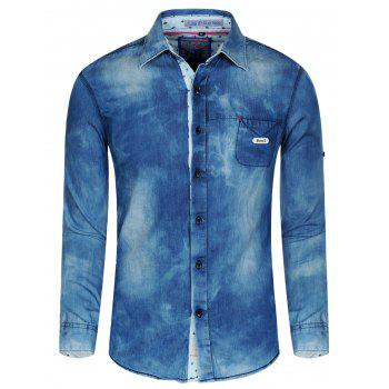 Men's Turn-Down Collar Long Sleeve Jeans Shirt